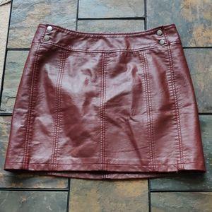 Free People Faux Leather Burgundy Mini Skirt 12